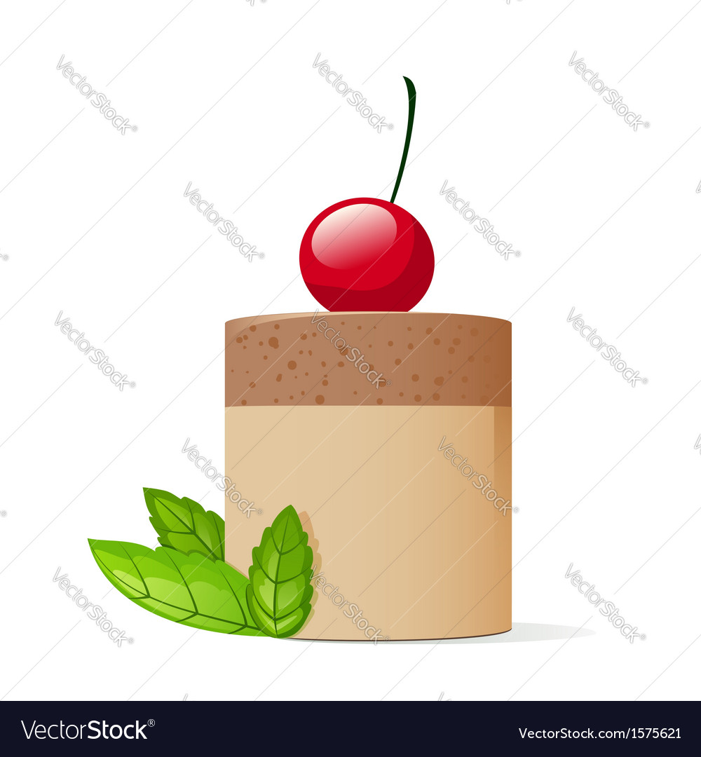 Cake decorated with cherry and mint leaves vector | Price: 1 Credit (USD $1)