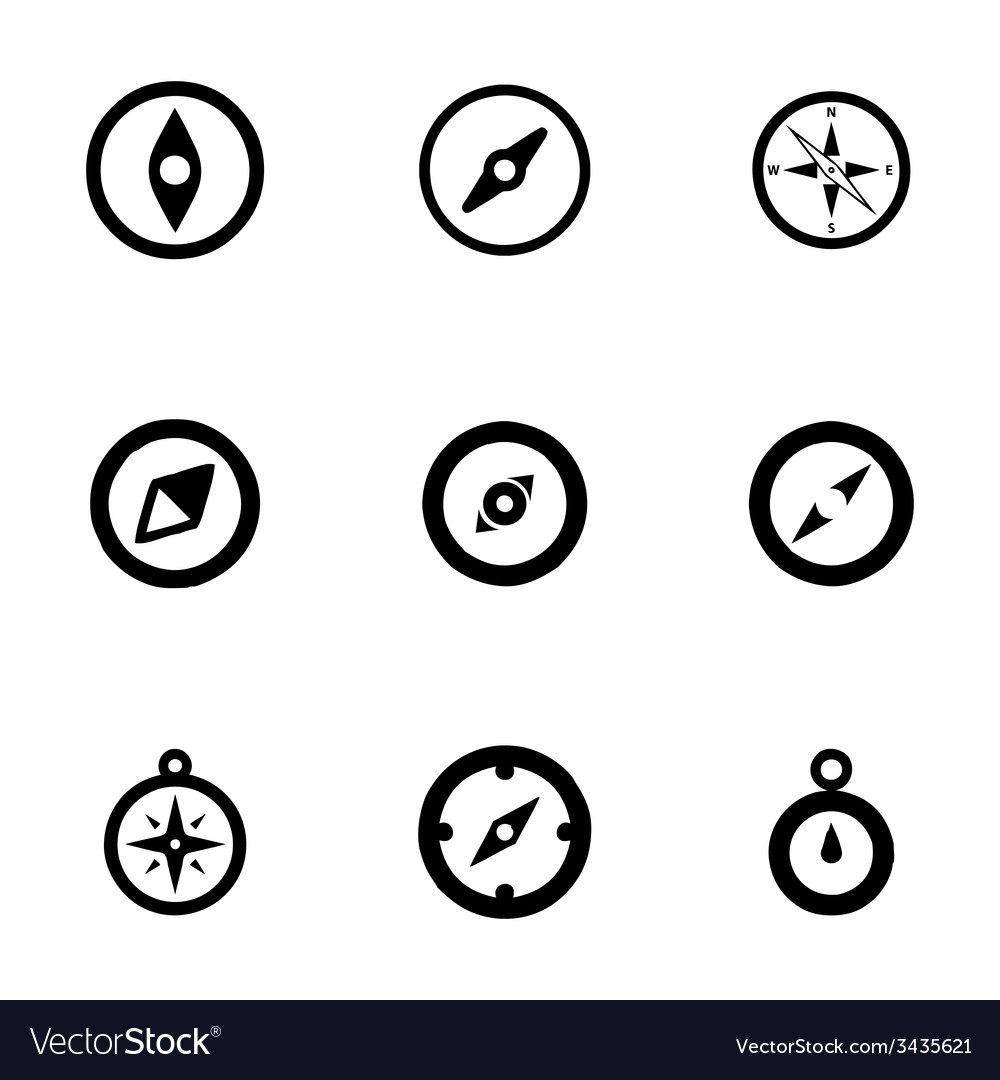 Compass icon set vector | Price: 1 Credit (USD $1)