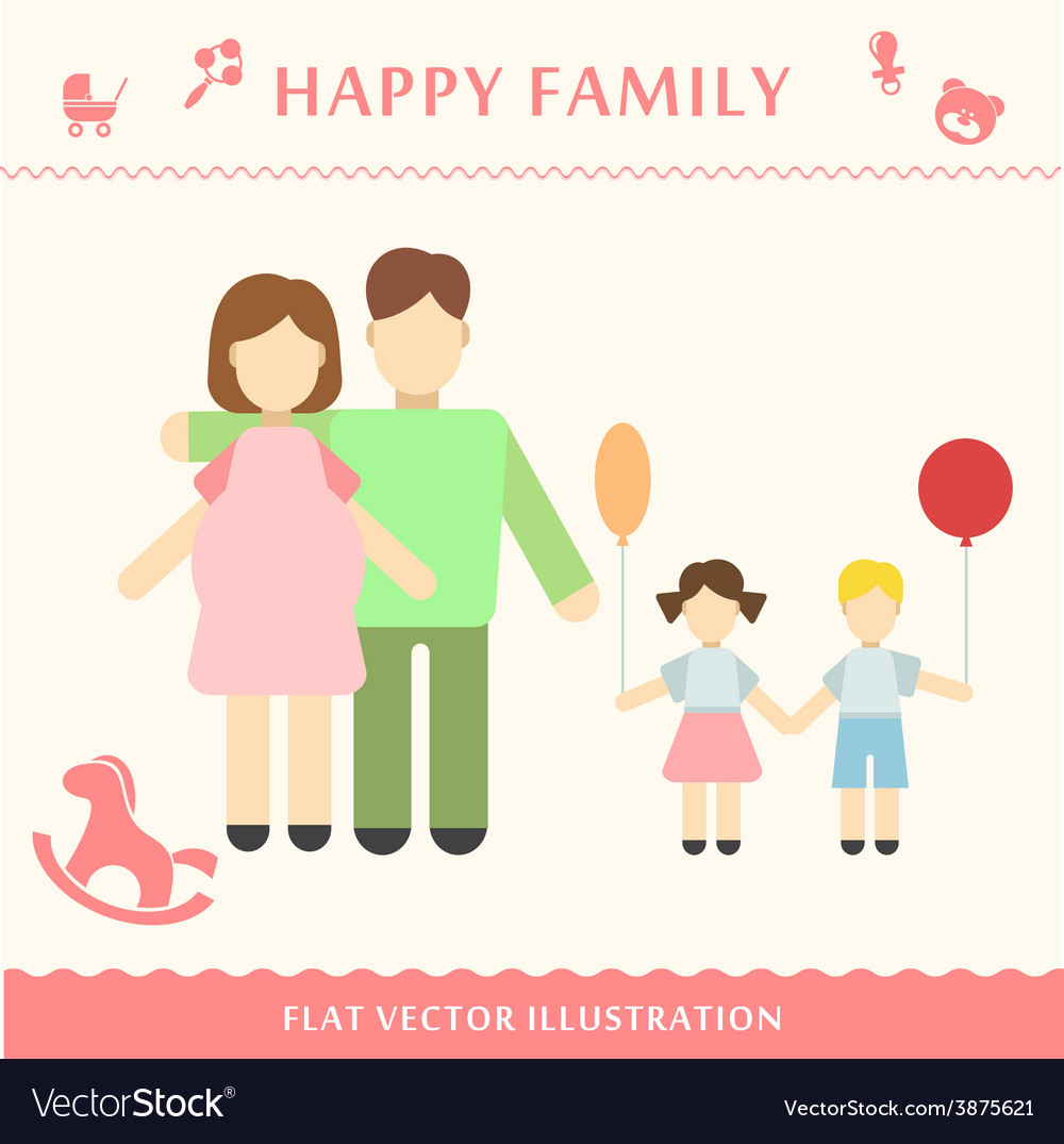 Father and pregnant women vector | Price: 1 Credit (USD $1)
