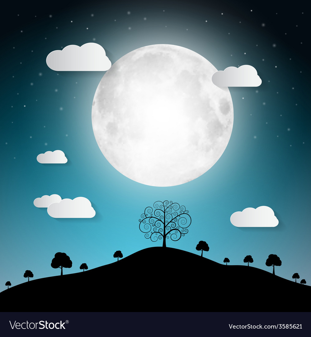 Full moon with clouds and trees on hill vector | Price: 1 Credit (USD $1)