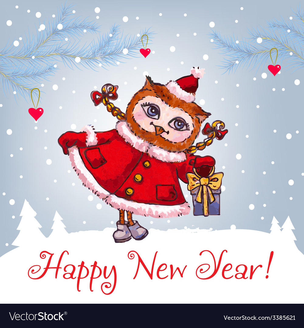Happy new year greeting card with cute owl in vector | Price: 1 Credit (USD $1)