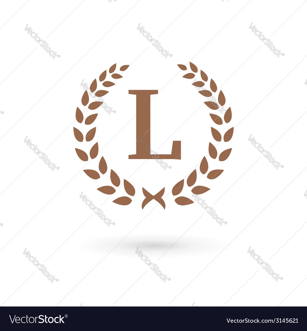 Letter l laurel wreath logo icon vector | Price: 1 Credit (USD $1)