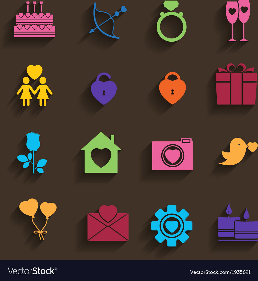 Love icons set in flat style vector | Price: 1 Credit (USD $1)