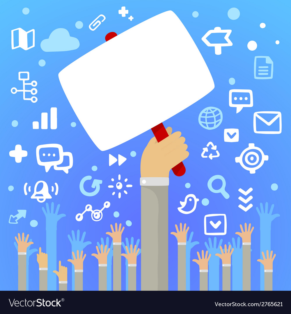 Mans hand holding a large blank white board above vector | Price: 1 Credit (USD $1)