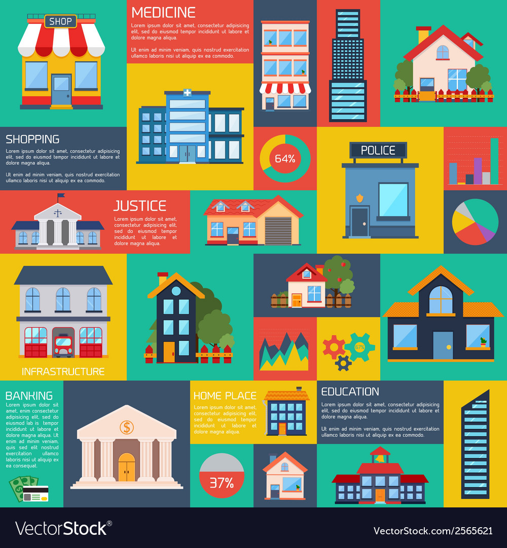 Modern flat city background infographics vector | Price: 1 Credit (USD $1)