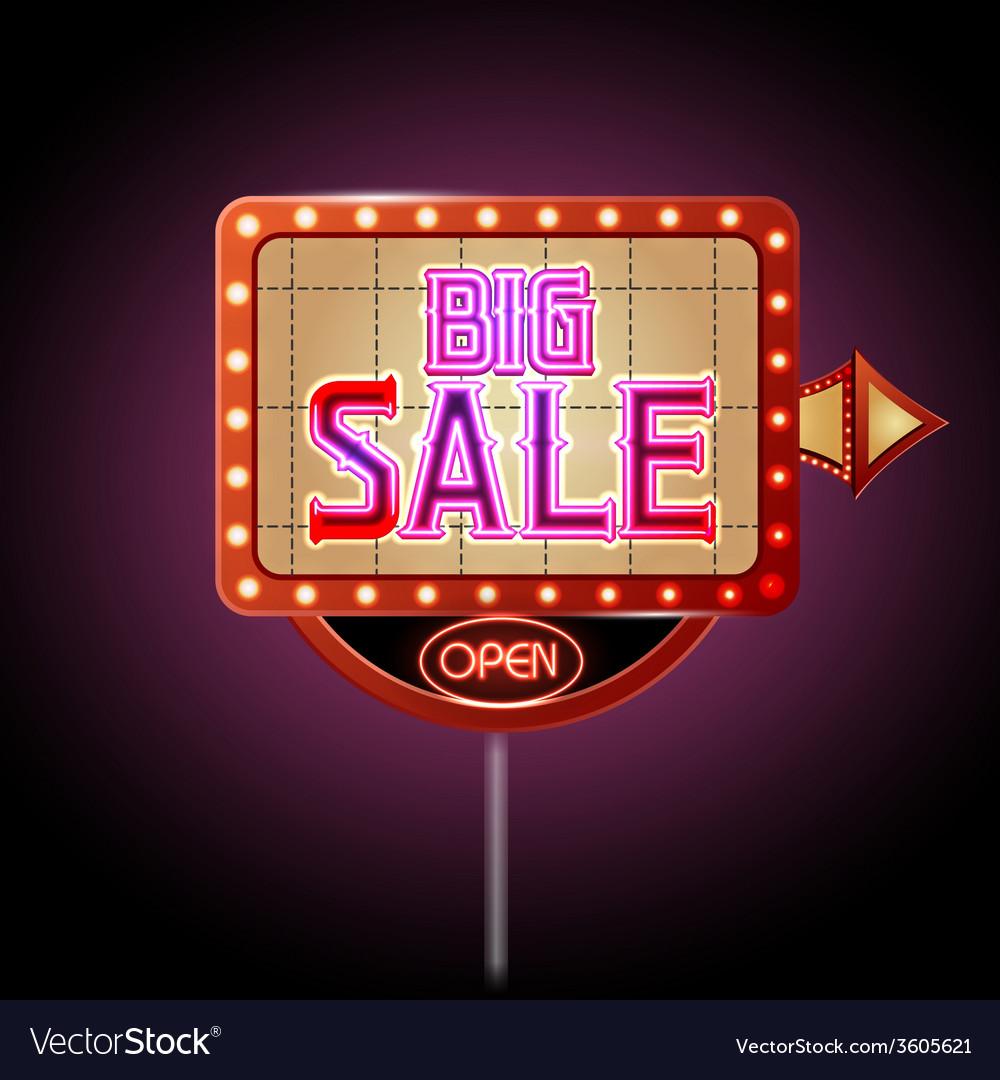Neon sign big sale vector | Price: 1 Credit (USD $1)