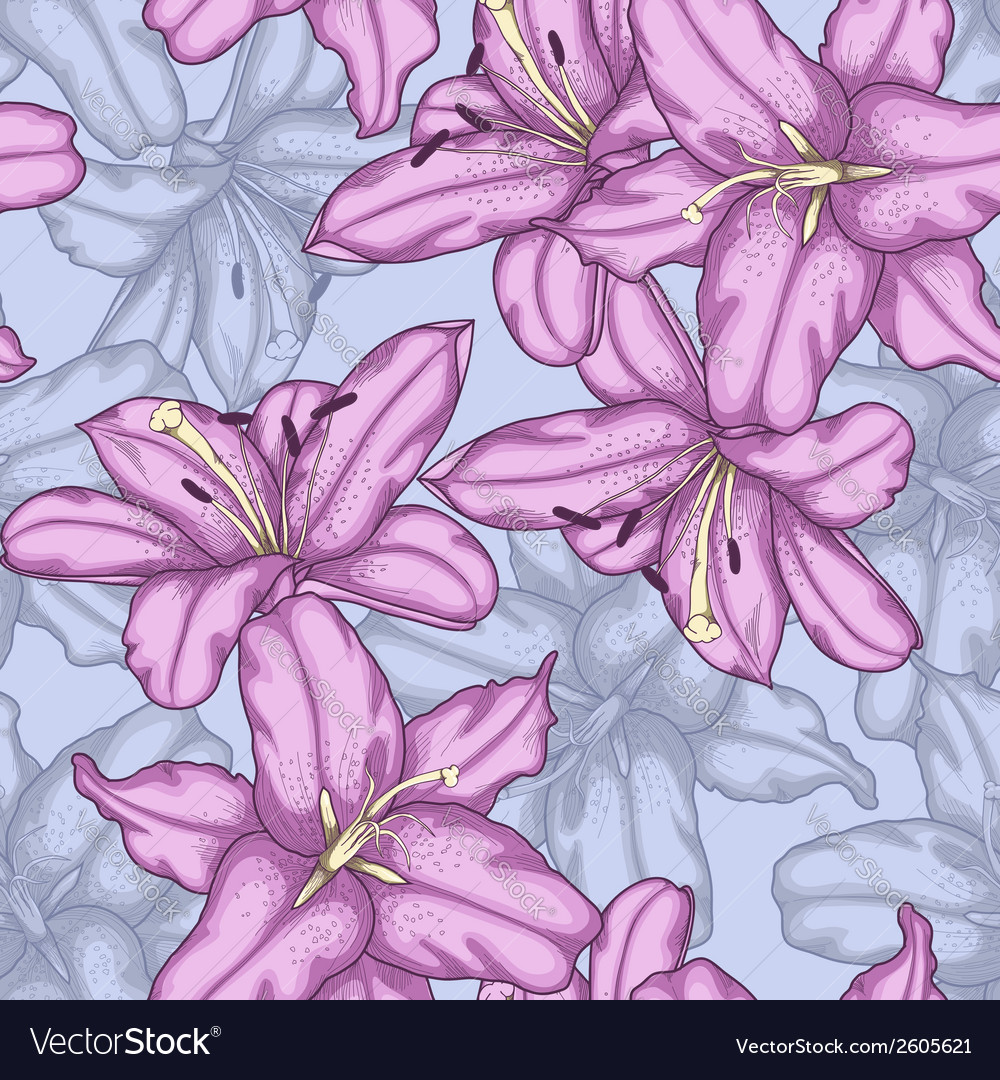 Seamless background with violet lilies vector | Price: 1 Credit (USD $1)