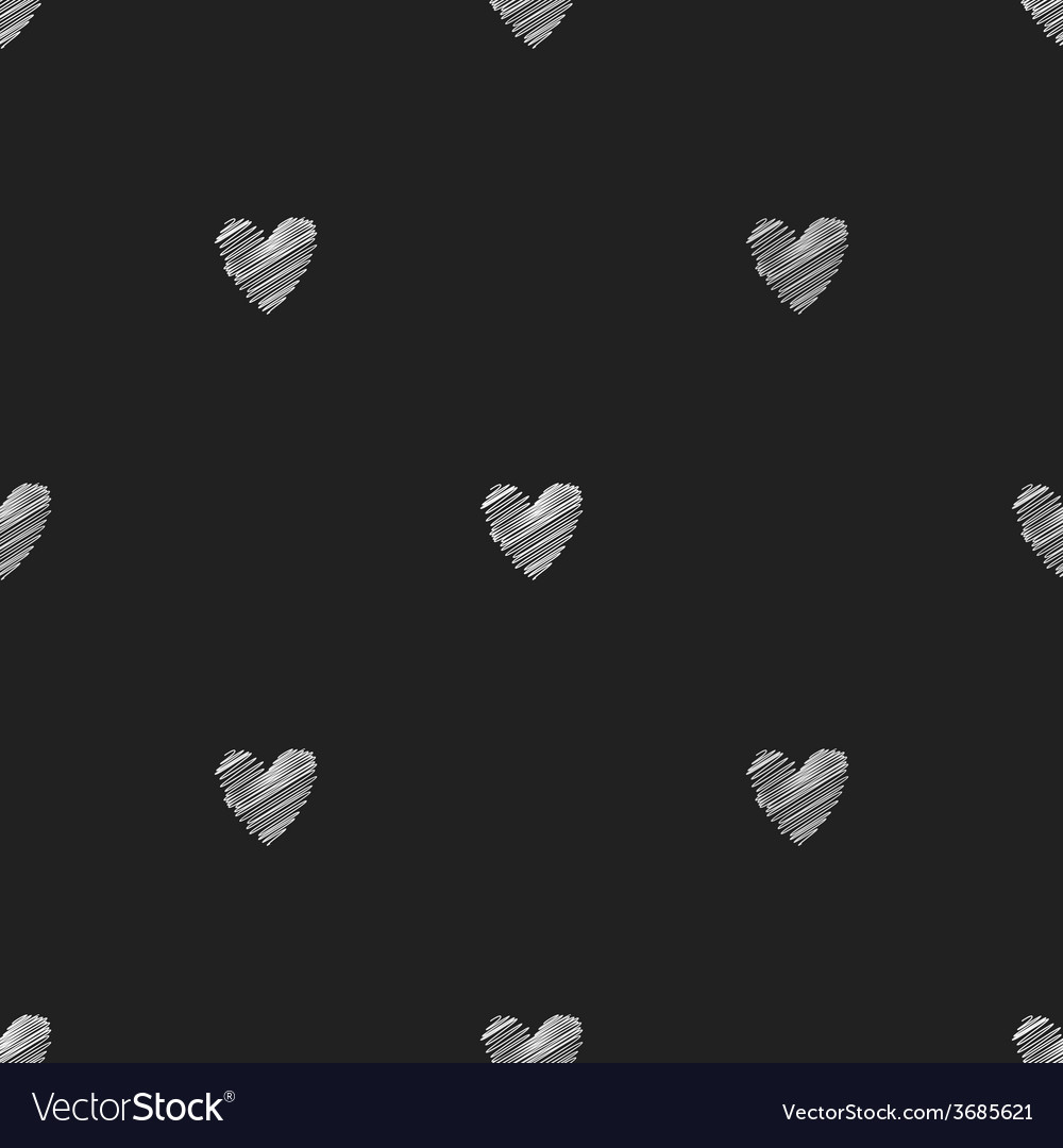 Seamless chalk pattern of hearts vector | Price: 1 Credit (USD $1)