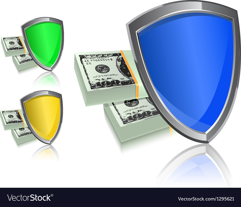 Shield and money icon set - security protection vector | Price: 1 Credit (USD $1)