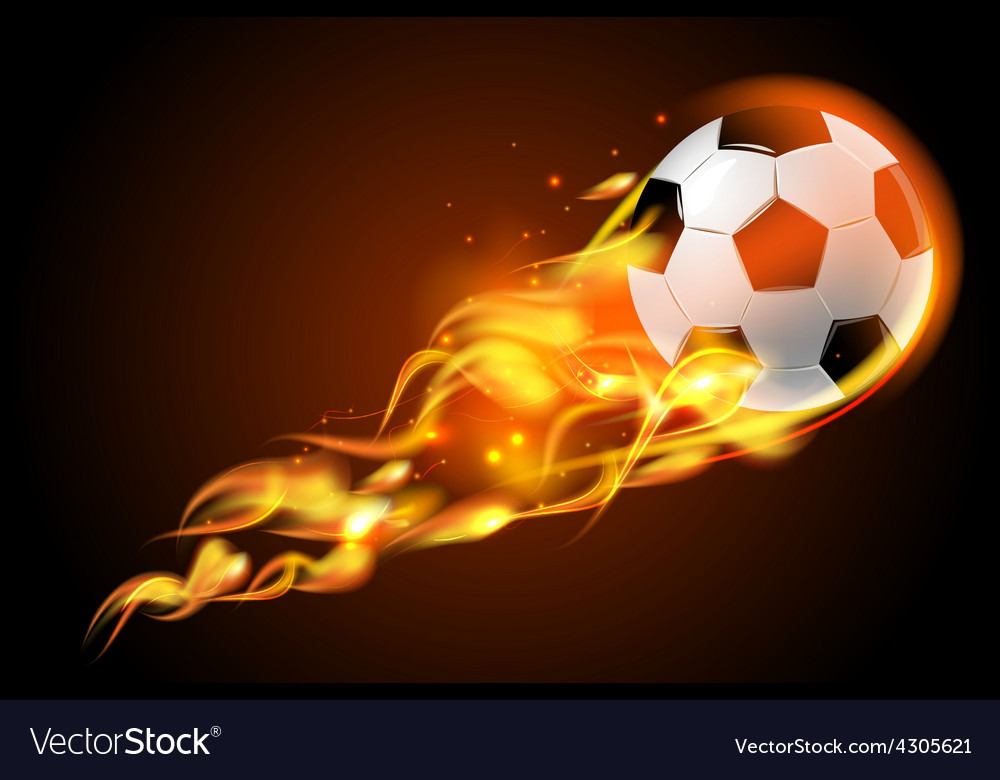 Soccer ball fire on black background vector | Price: 1 Credit (USD $1)