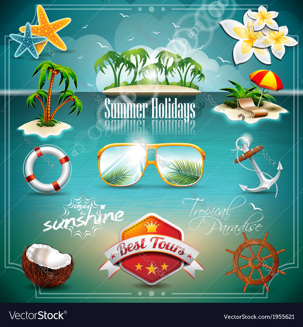 Summer holiday icon set on blue sea background vector | Price: 3 Credit (USD $3)