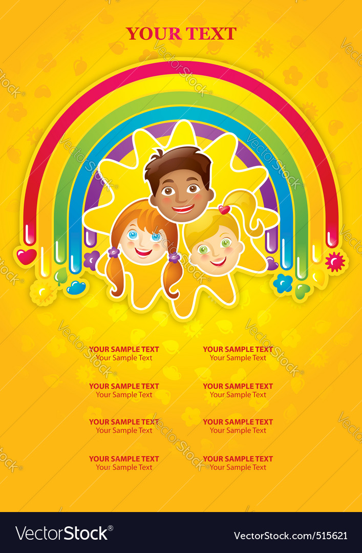 Three happy children in a rainbow and the sun vector | Price: 3 Credit (USD $3)