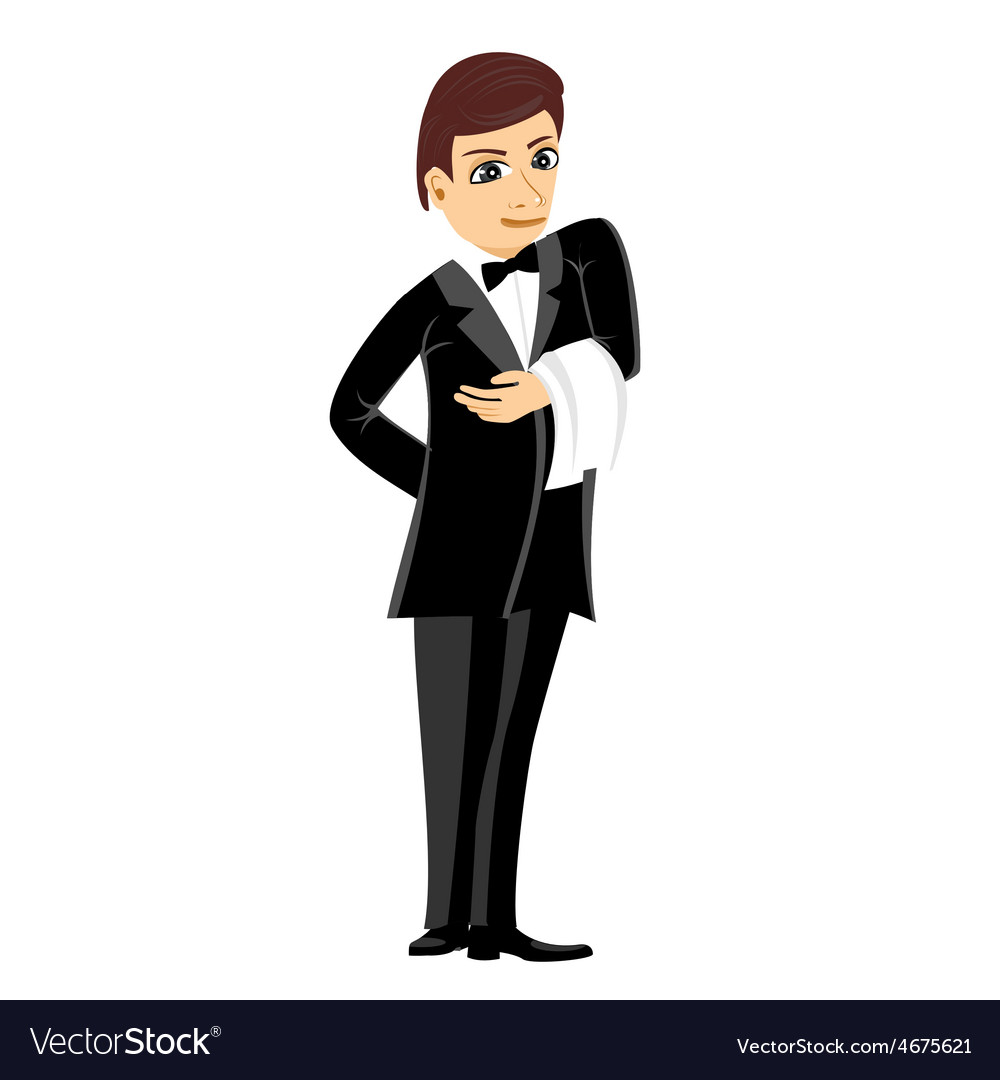 Waiter in black suit with towel vector | Price: 1 Credit (USD $1)
