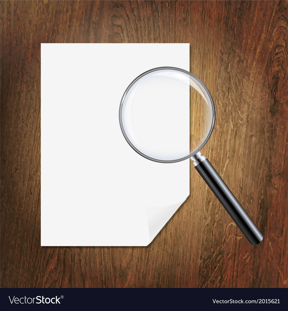 Wooden background with magnifying glass and paper vector | Price: 1 Credit (USD $1)
