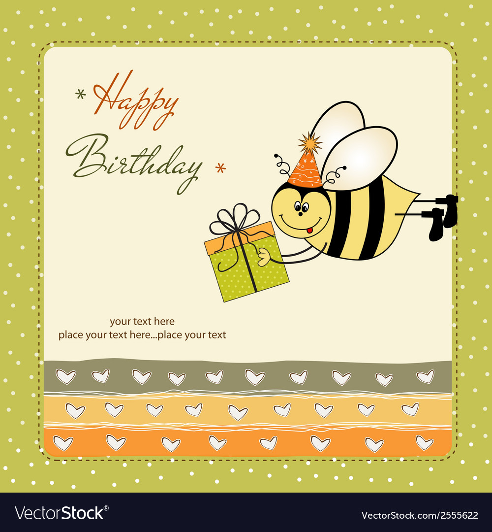 Birthday card with bee vector | Price: 1 Credit (USD $1)