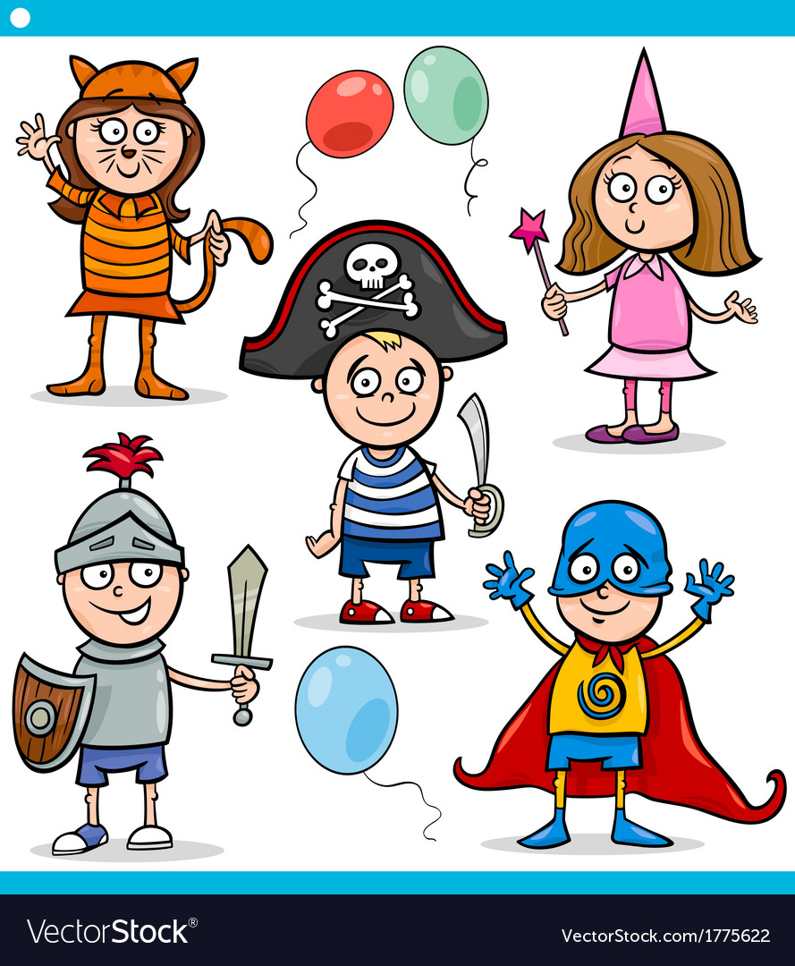 Children in fancy ball costumes set vector | Price: 1 Credit (USD $1)