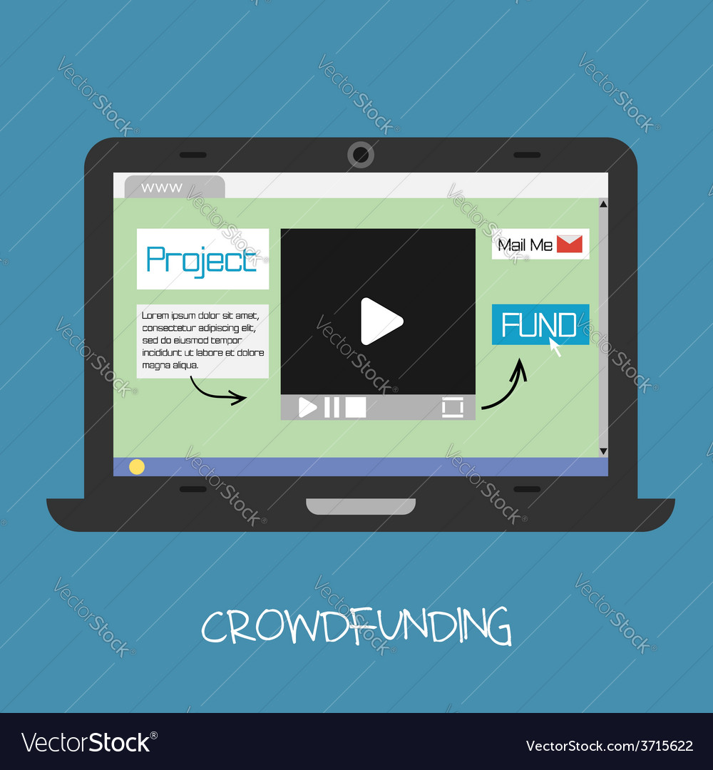 Crowdfunding concept online fund the project netwo vector | Price: 1 Credit (USD $1)