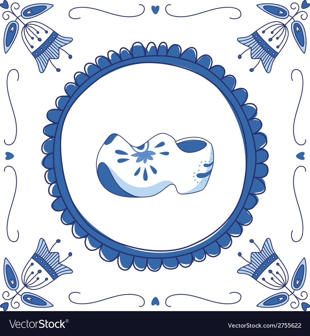 Delft blue clogs vector