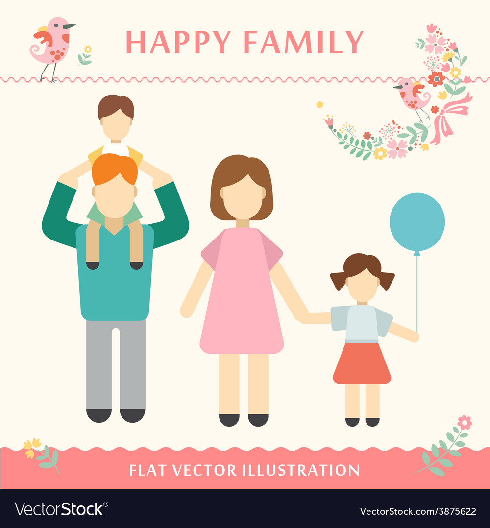 Family with children kids people concept flat vector | Price: 1 Credit (USD $1)