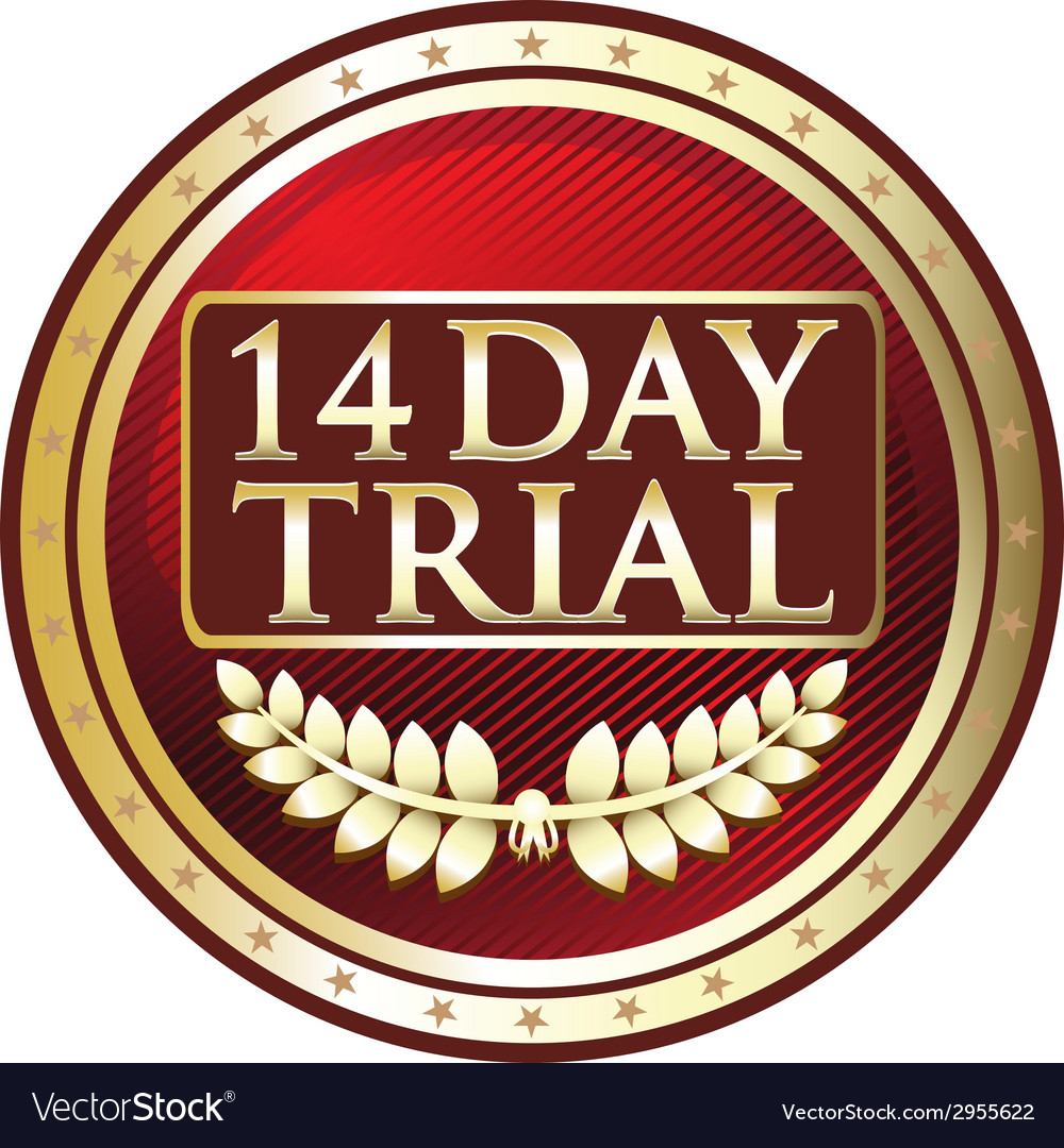 Fourteen day trial label vector | Price: 1 Credit (USD $1)