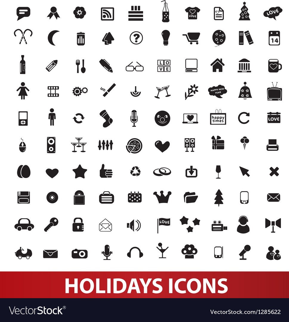 Holidays icons set vector | Price: 1 Credit (USD $1)