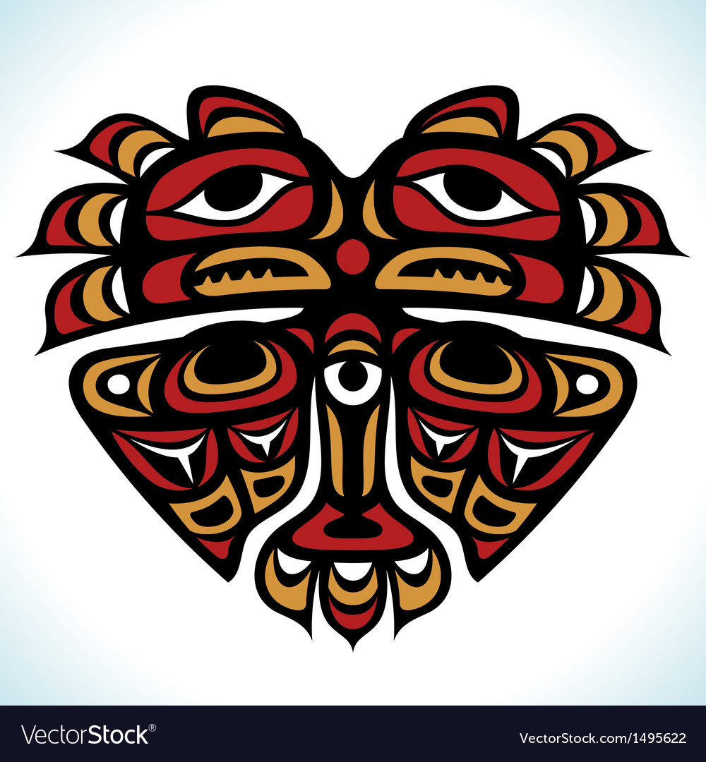 Indian pattern in the shape of heart vector | Price: 1 Credit (USD $1)