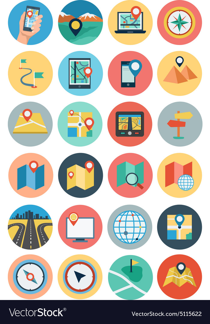 Maps and navigation flat icons 1 vector