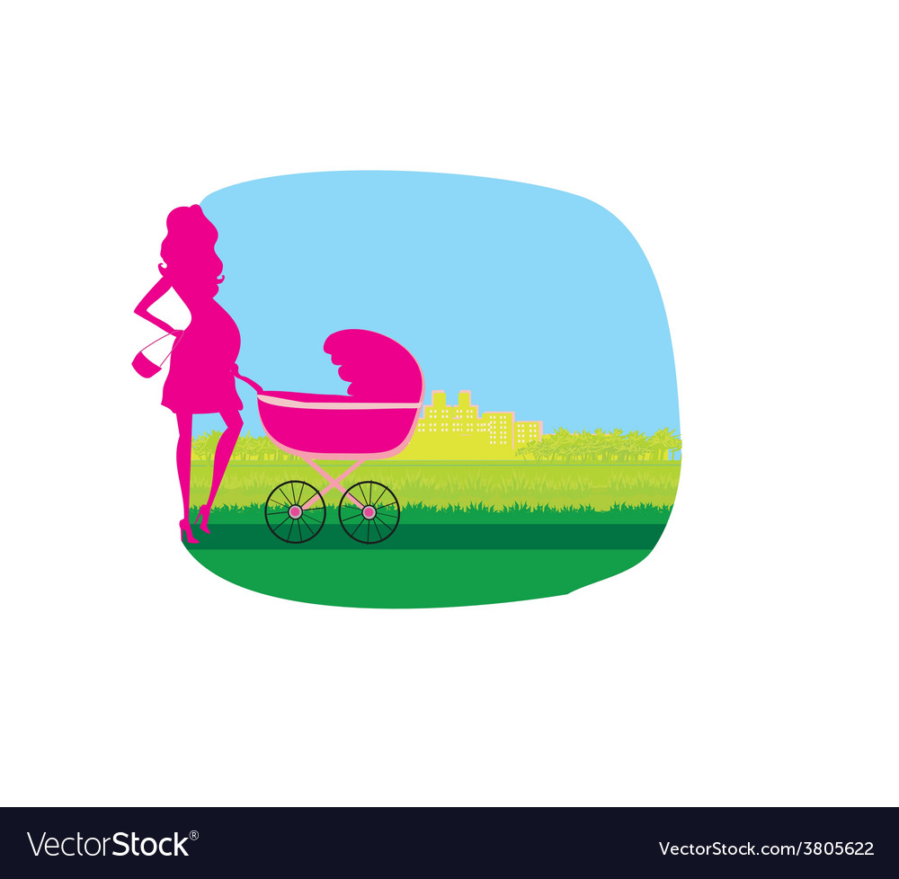 Pregnant woman pushing a stroller vector | Price: 1 Credit (USD $1)