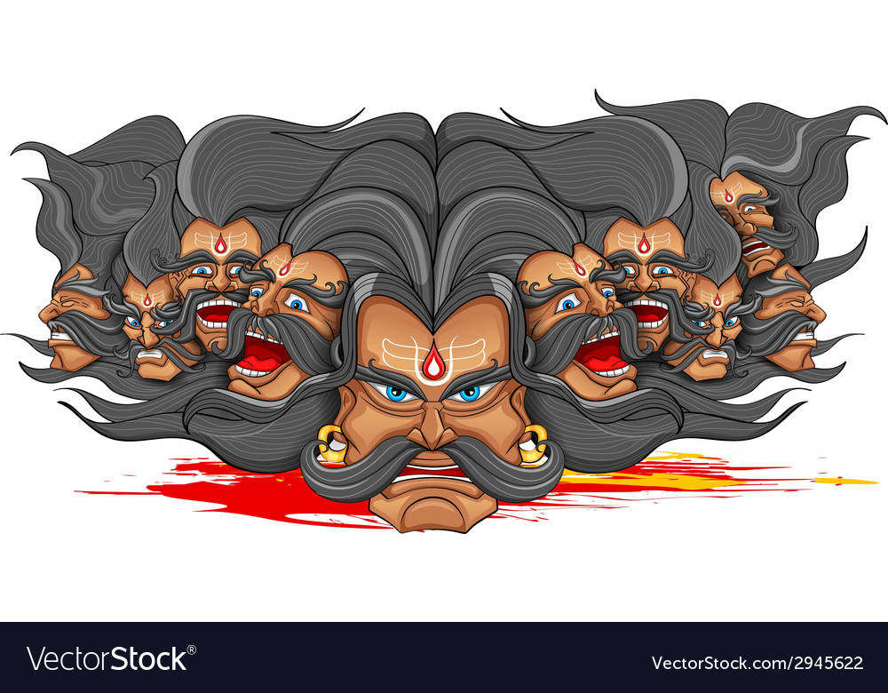 Ravana with ten heads for dussehra vector | Price: 1 Credit (USD $1)