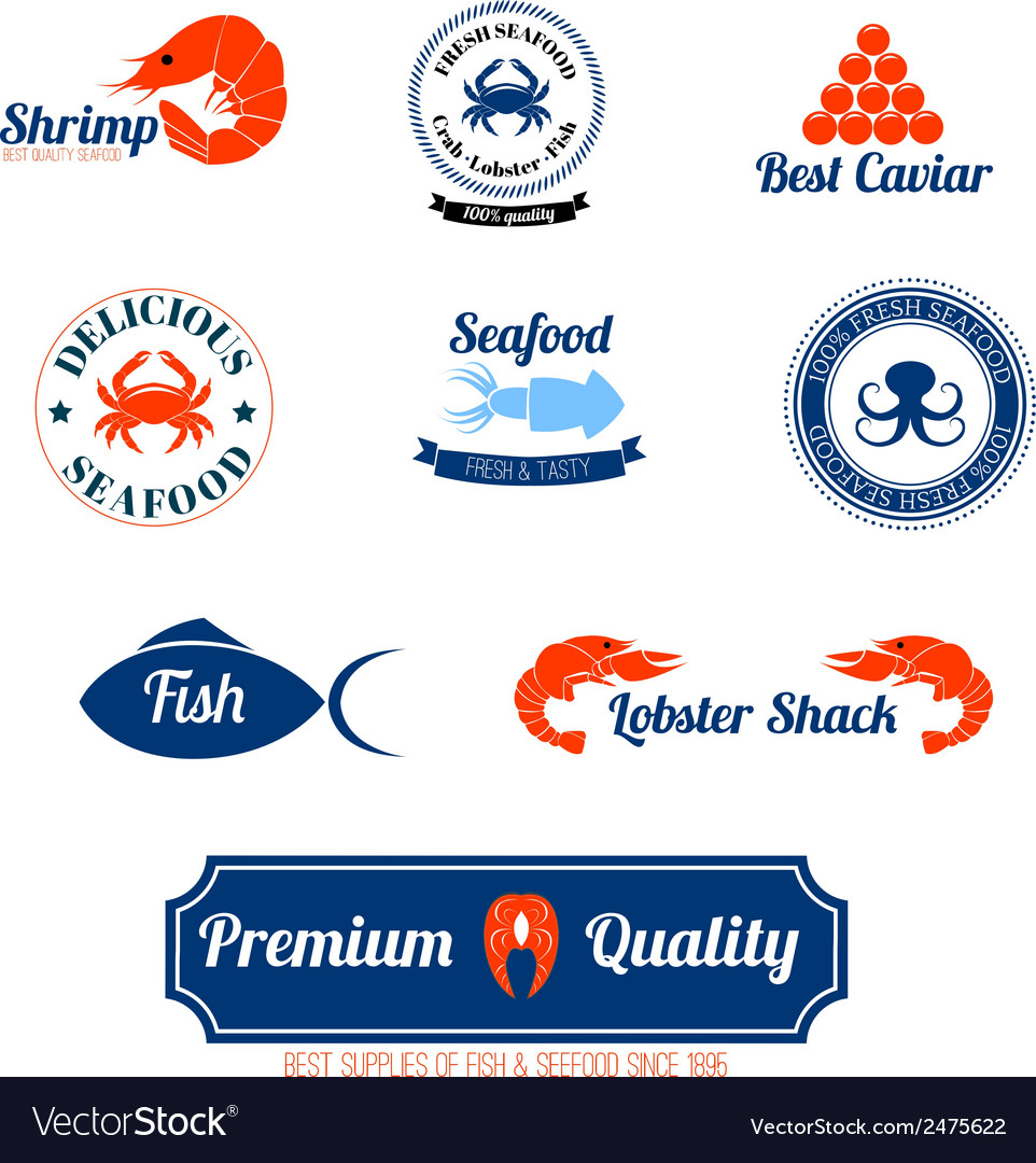 Seafood labels icons set vector | Price: 1 Credit (USD $1)
