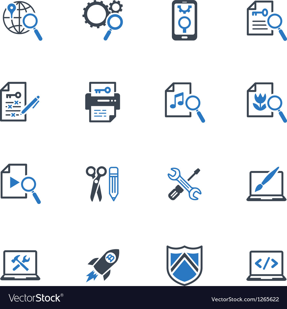 Seo and internet marketing icons set 1blue series vector