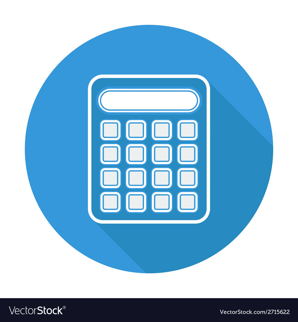 Single flat calculator icon with long shadow vector | Price: 1 Credit (USD $1)