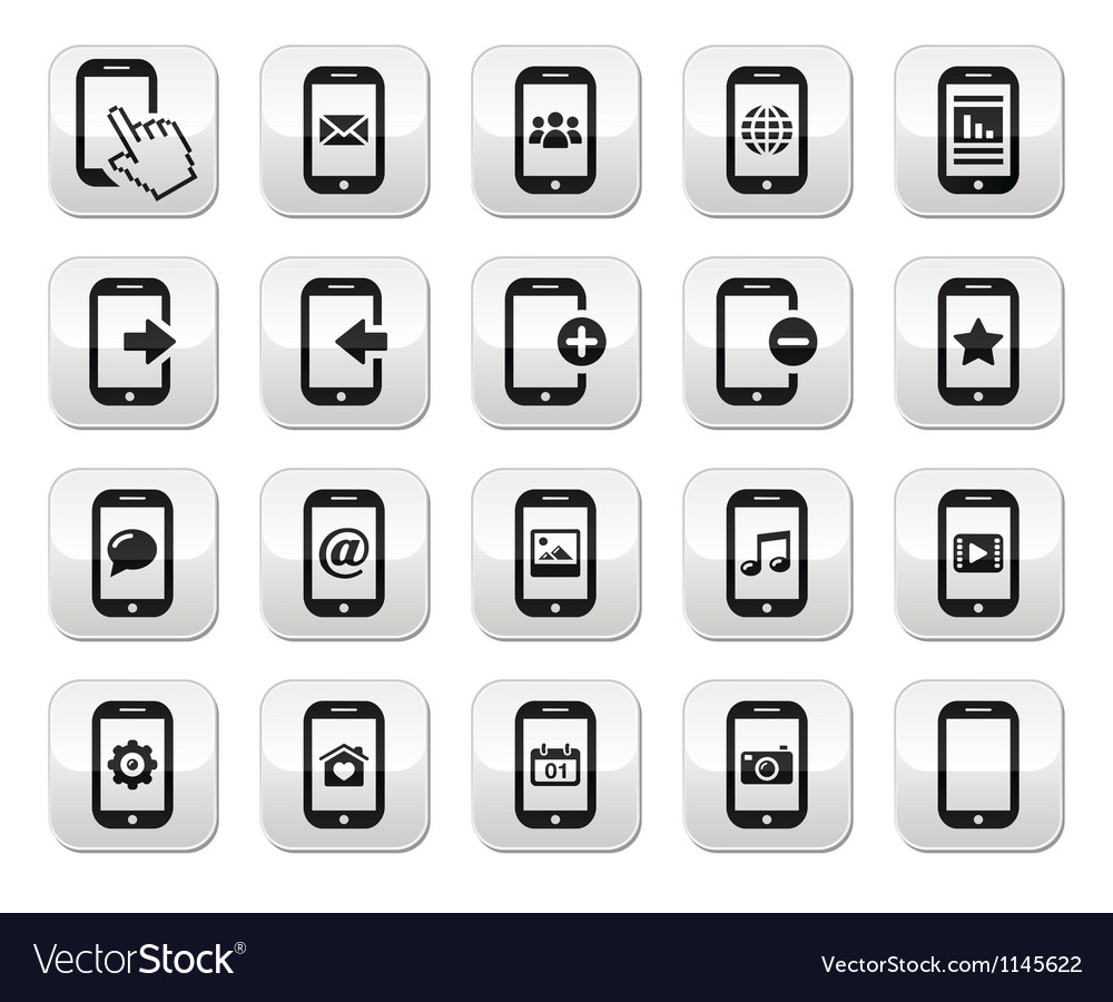 Smartphone mobile or cell phone buttons set vector | Price: 1 Credit (USD $1)