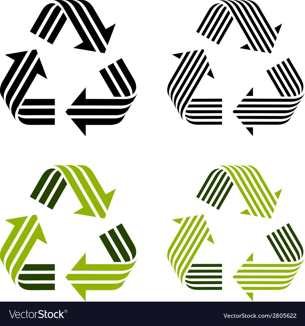 Striped recycle symbols vector | Price: 1 Credit (USD $1)