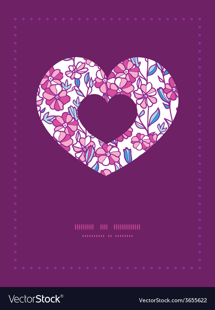 Vibrant field flowers heart symbol frame pattern vector | Price: 1 Credit (USD $1)