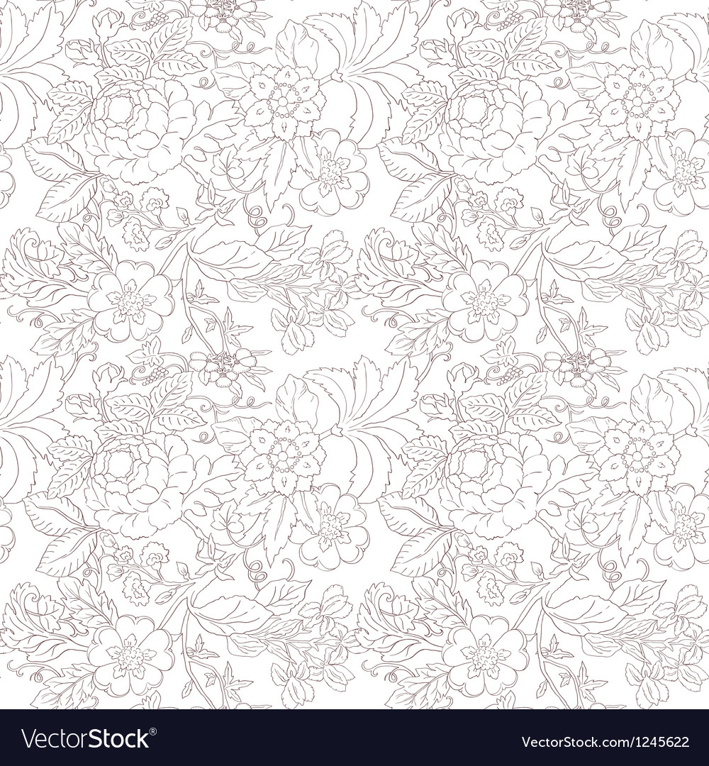 Vintage flower pattern vector | Price: 1 Credit (USD $1)