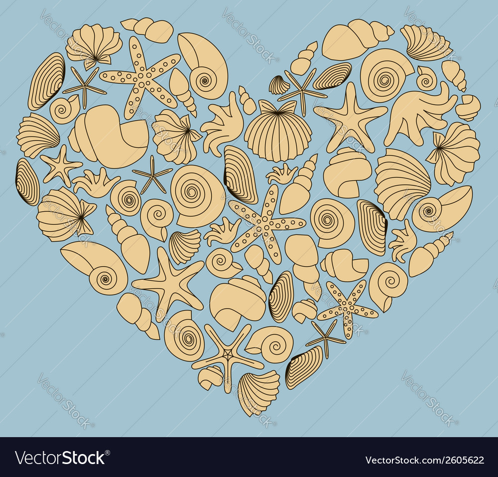 Vintage heart made of yellow shells vector | Price: 1 Credit (USD $1)