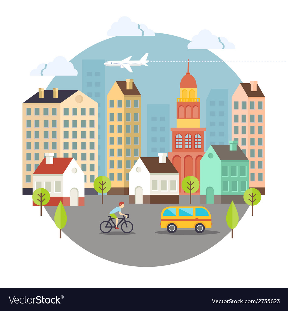 Beautiful colored city street design vector | Price: 1 Credit (USD $1)