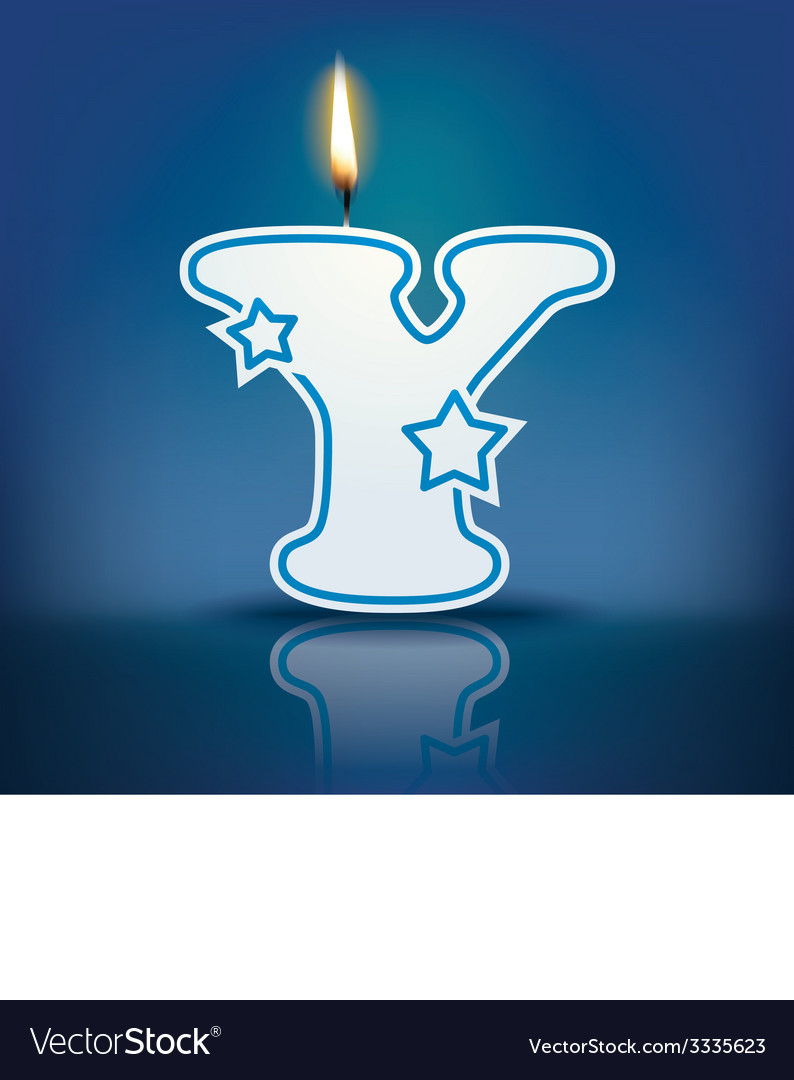 Candle letter y with flame vector   Price: 1 Credit (USD $1)