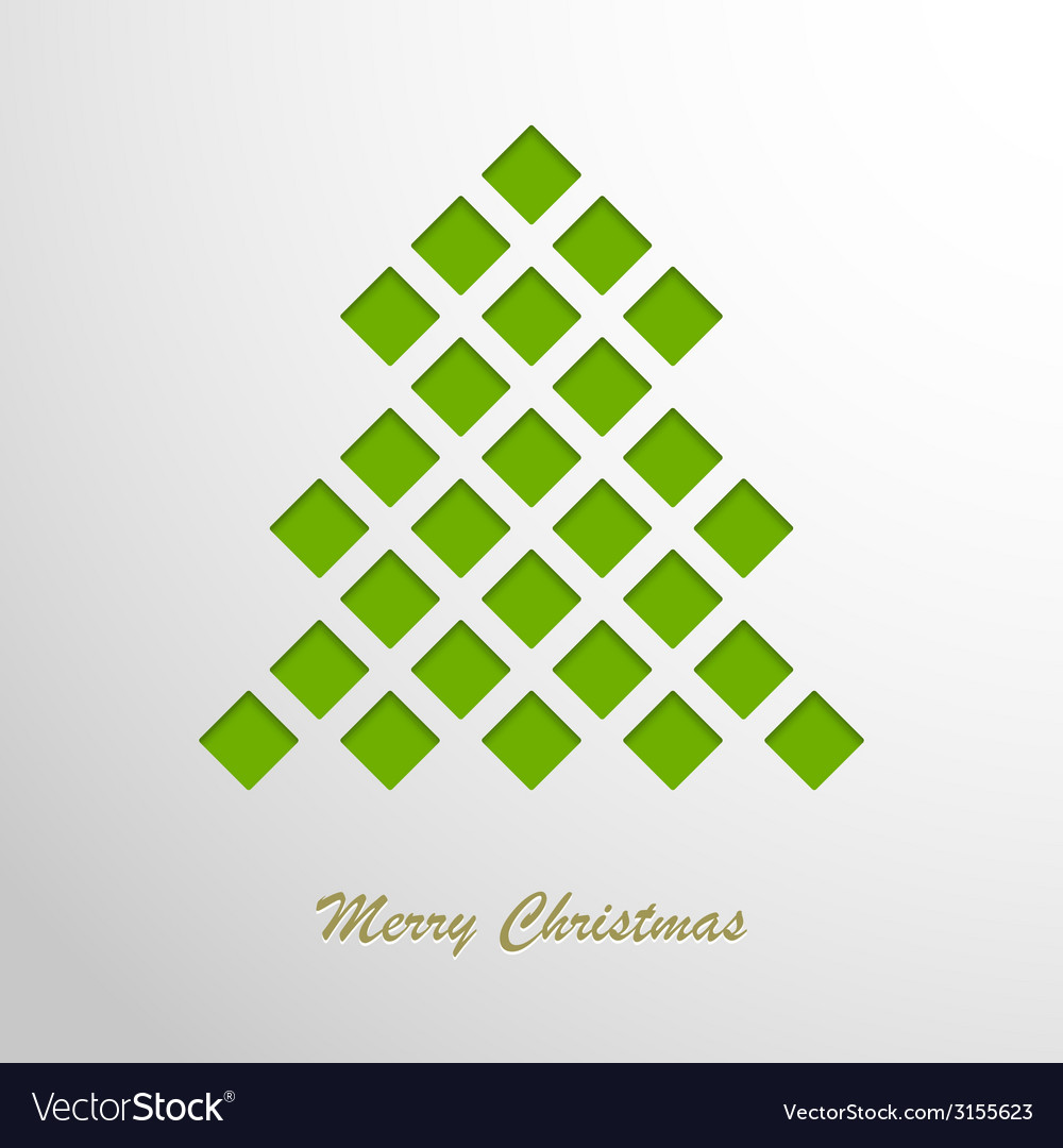 Christmas card with a green abstract tree vector | Price: 1 Credit (USD $1)