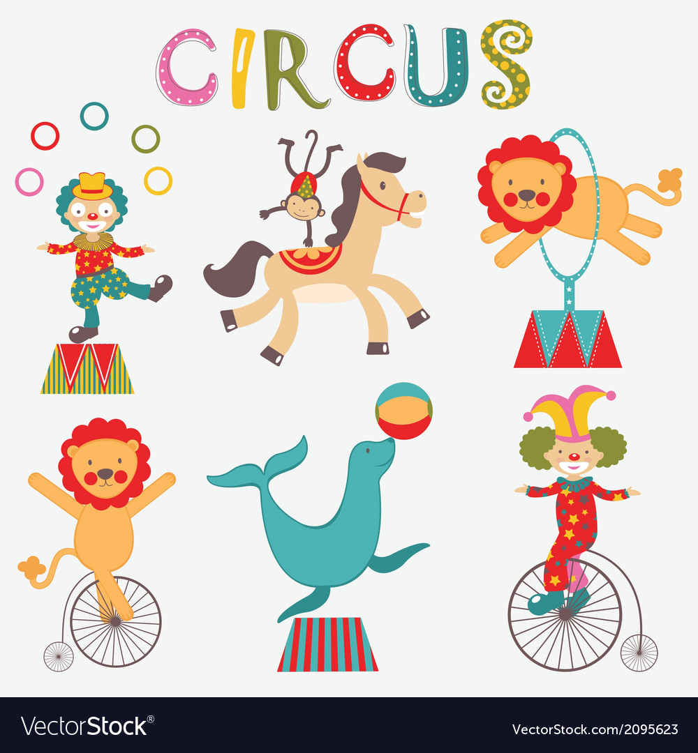 Colorful circus collection vector | Price: 1 Credit (USD $1)