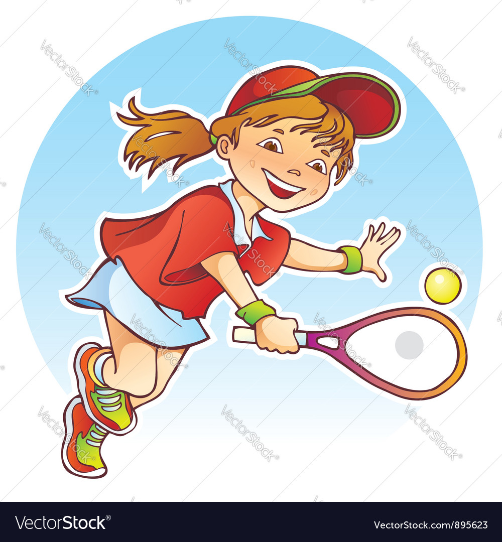 Girl playing tennis vector | Price: 3 Credit (USD $3)