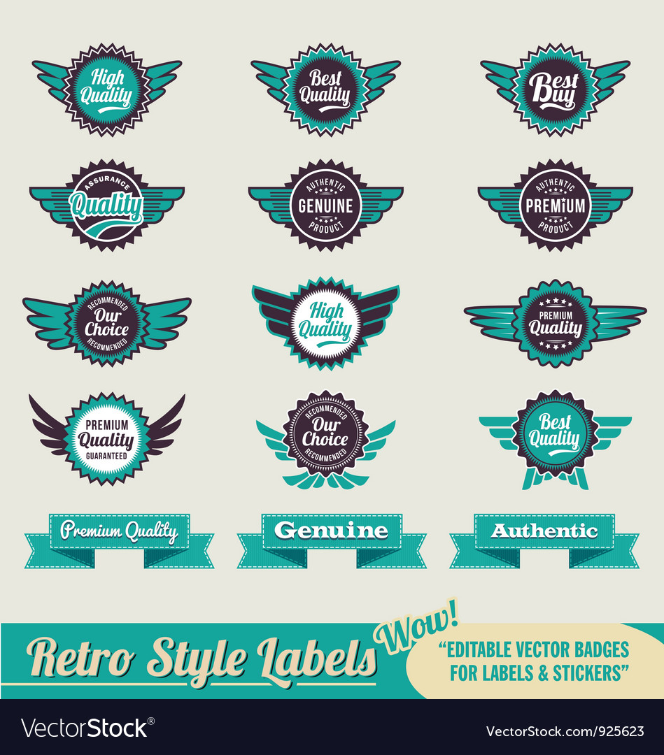 Retro vintage label badge set vector | Price: 3 Credit (USD $3)