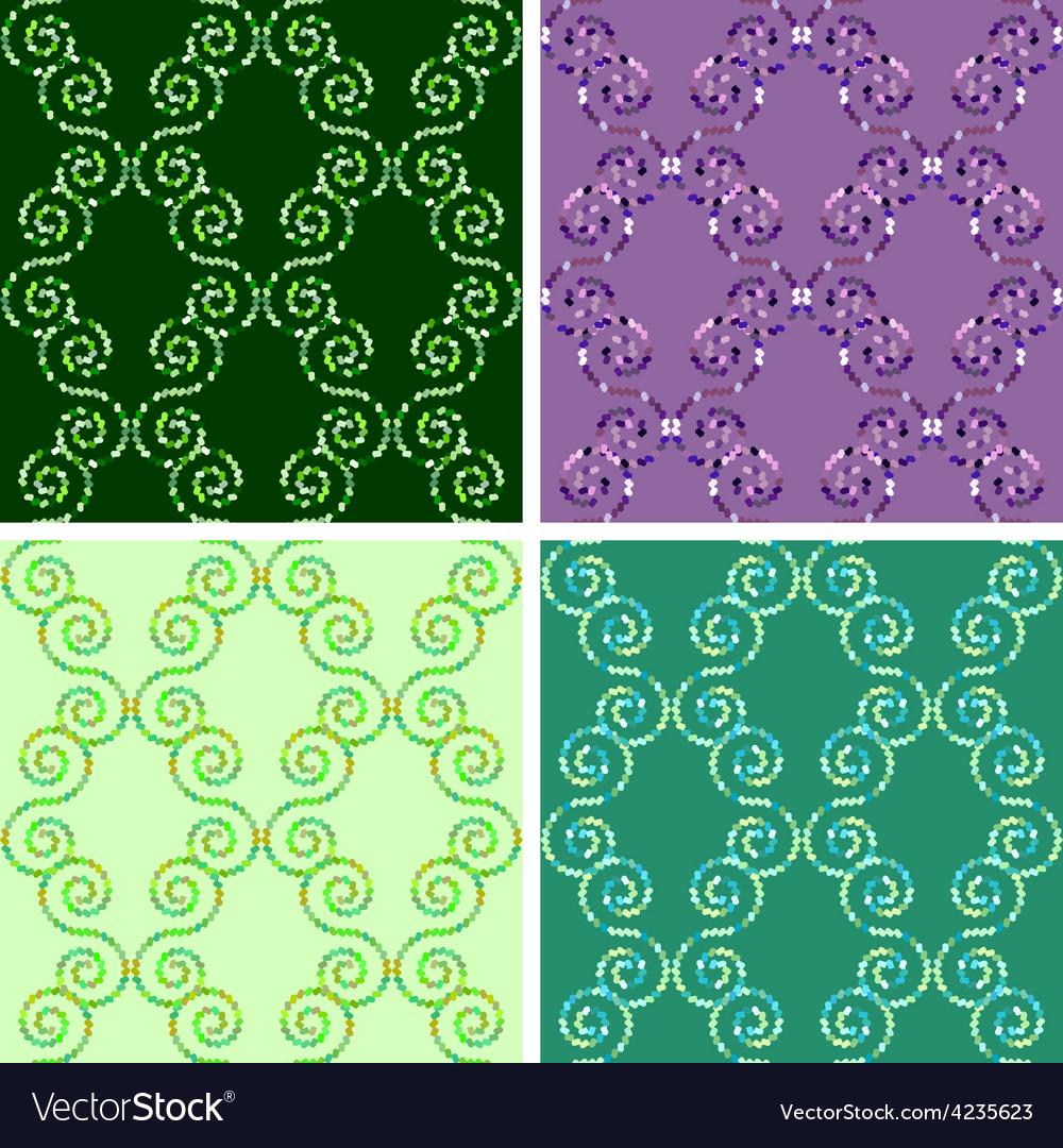 Seamless mosaic pattern set vector | Price: 1 Credit (USD $1)