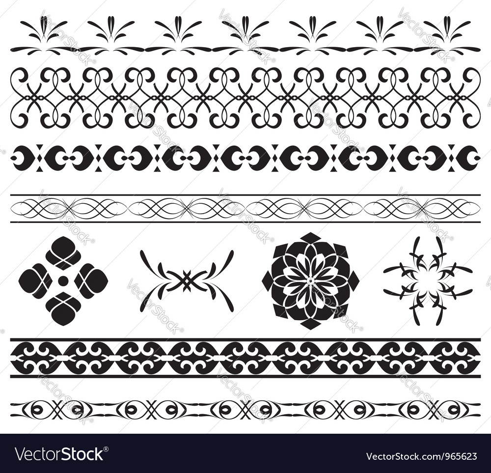 Set - black borders for decoration vector | Price: 1 Credit (USD $1)