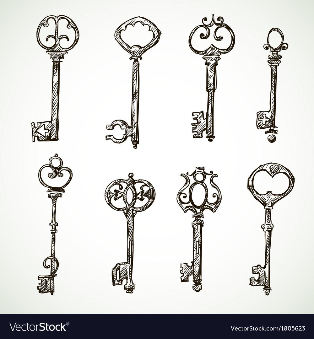 Set of vintage keys drawings vector   Price: 1 Credit (USD $1)