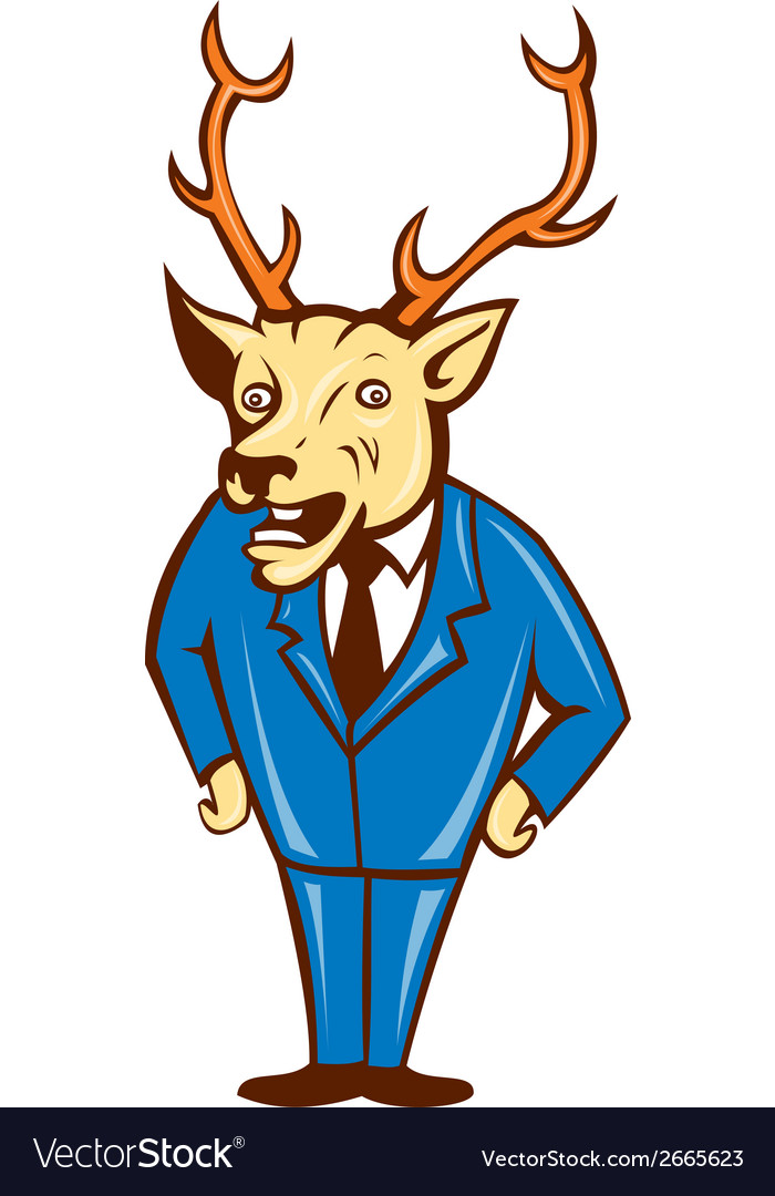 Stag deer hands on hips standing cartoon vector | Price: 1 Credit (USD $1)