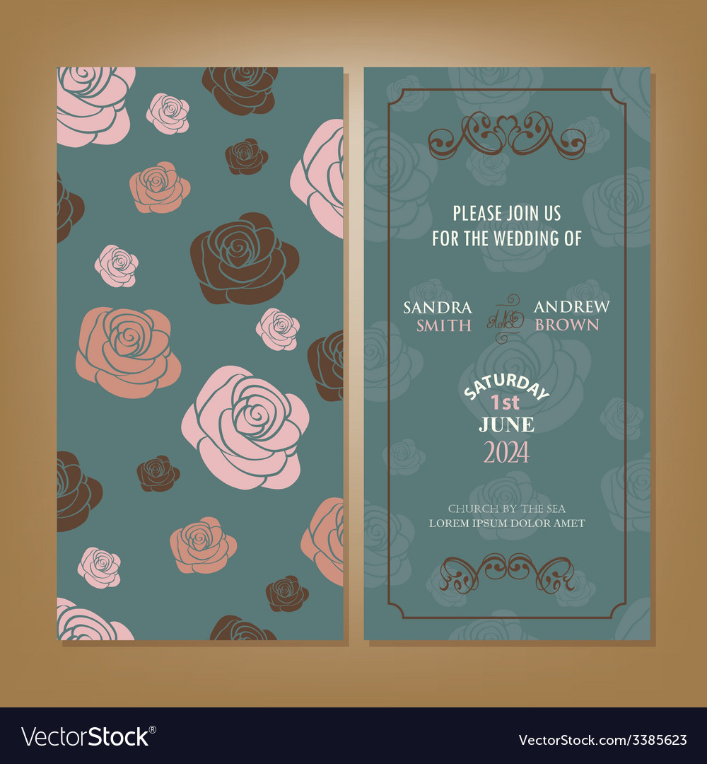 Wedding card with roses vector | Price: 1 Credit (USD $1)