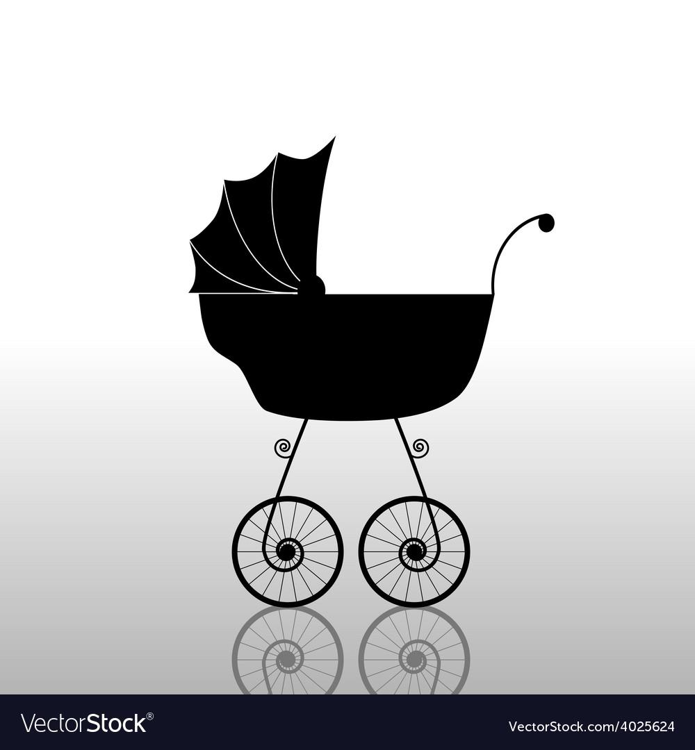 Baby stroller old black vector | Price: 1 Credit (USD $1)