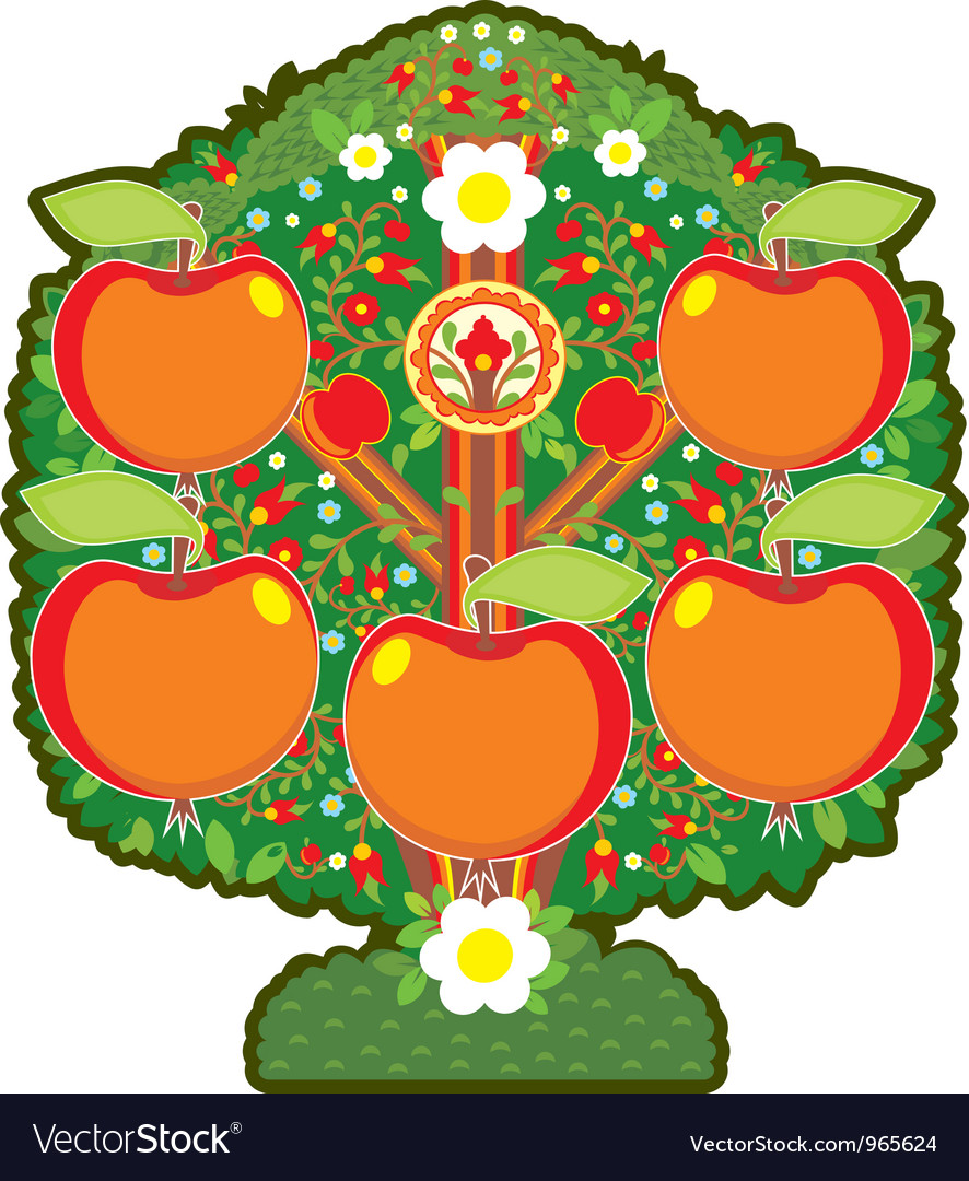 Big apple tree isolated vector | Price: 1 Credit (USD $1)